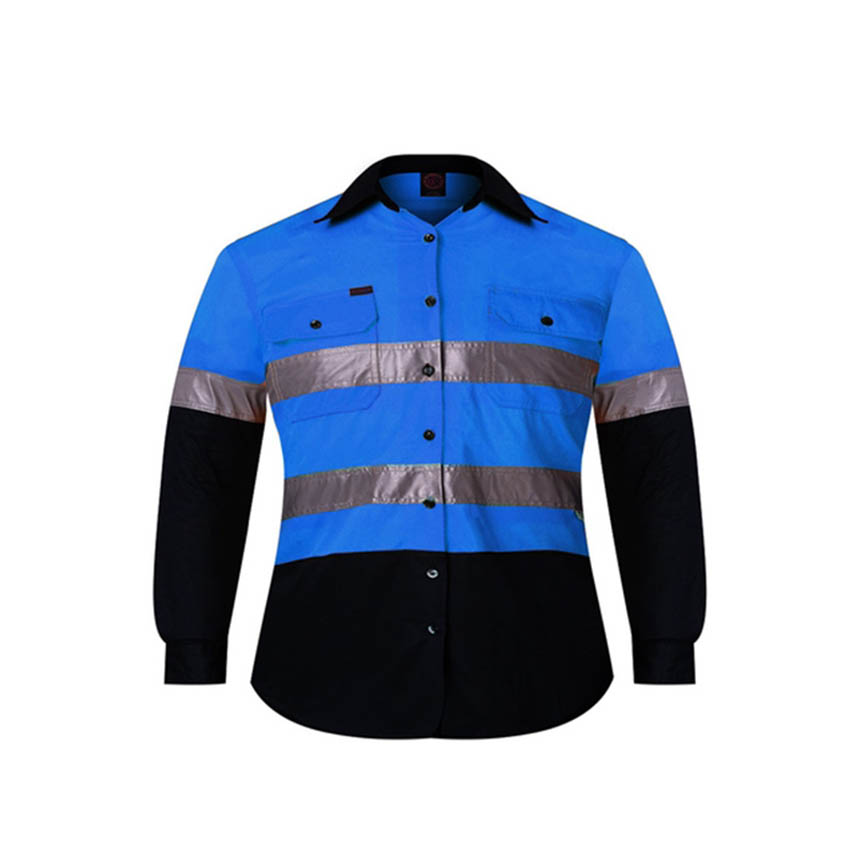 2 Tone Open Front Long Sleeve Kids Shirt with Reflective Tape