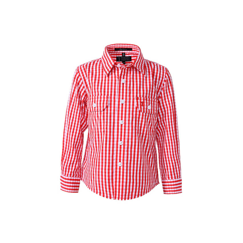 Front Flap Dual Pocket, Classic Fit, Long Sleeve Kids Shirt