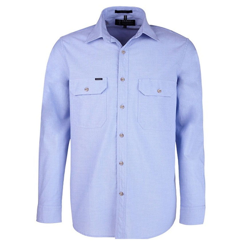 Chambray Front Flap Dual Pocket, Classic Fit, Long Sleeve Mens Shirt