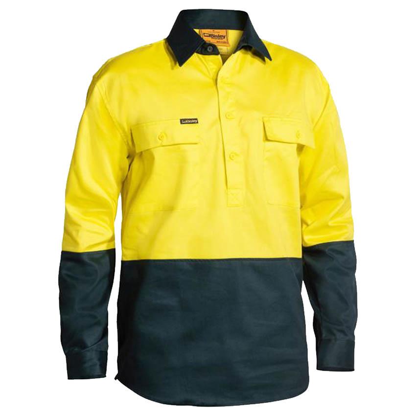 Closed Front Hi-Vis Drill Mens Shirt - Long Sleeve