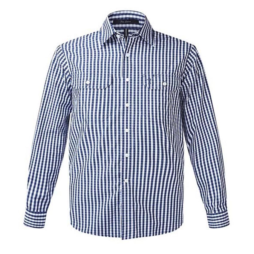 Front Flap Dual Pocket, Classic Fit, Long Sleeve Mens Shirt