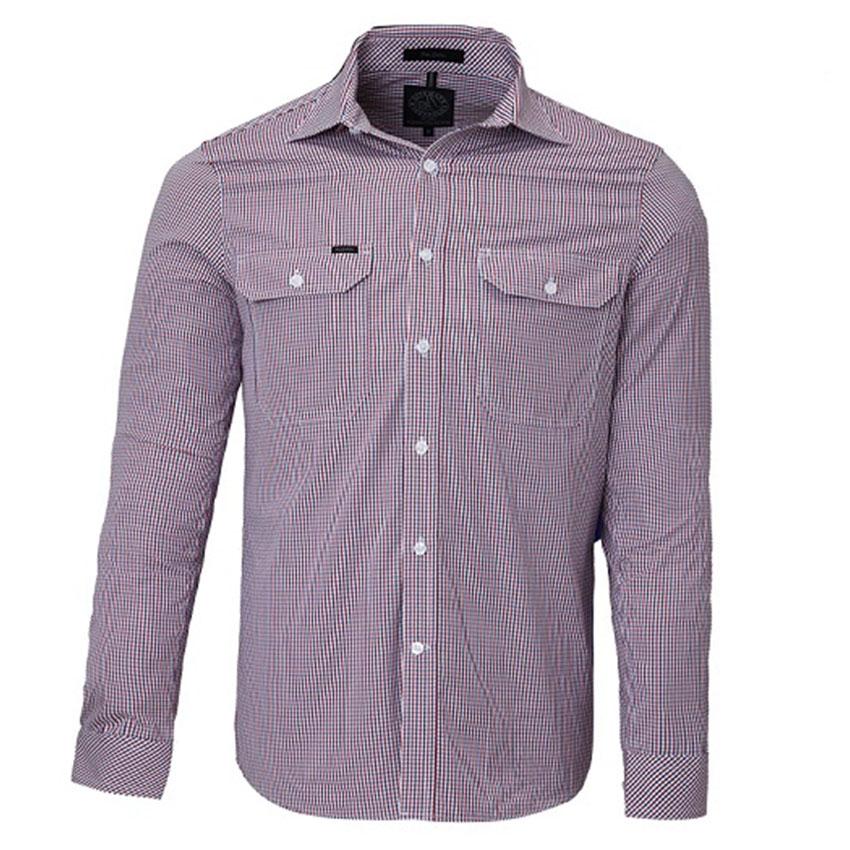 Front Flap Dual Pocket, Classic Fit, Long Sleeve Mens Shirt - R/N/WC