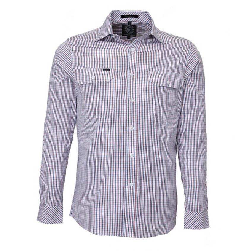 Front Flap Dual Pocket, Classic Fit, Long Sleeve Mens Shirt - ASS/CH