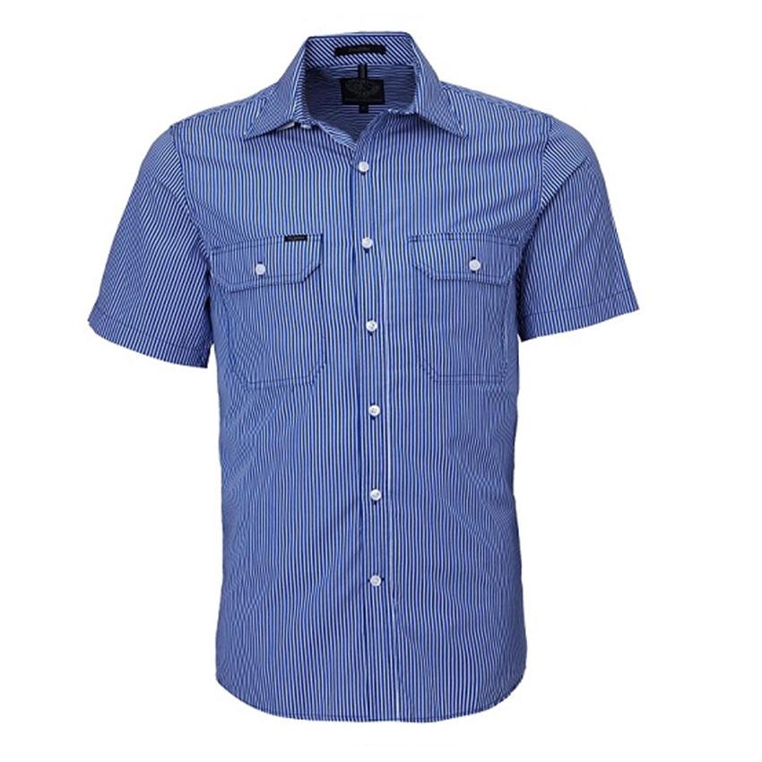 Front Flap Dual Pocket, Classic Fit, Short Sleeve Mens Shirt - Royal/White Stripe