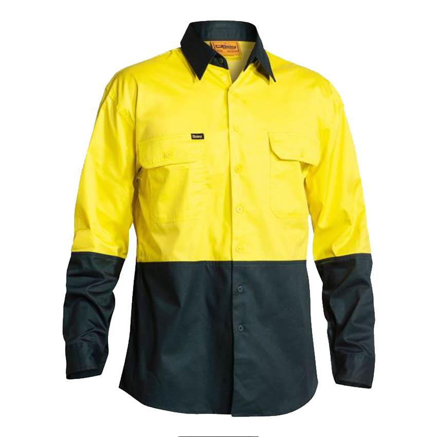 Hi-Vis Cool Lightweight Drill Mens Shirt - Long Sleeve