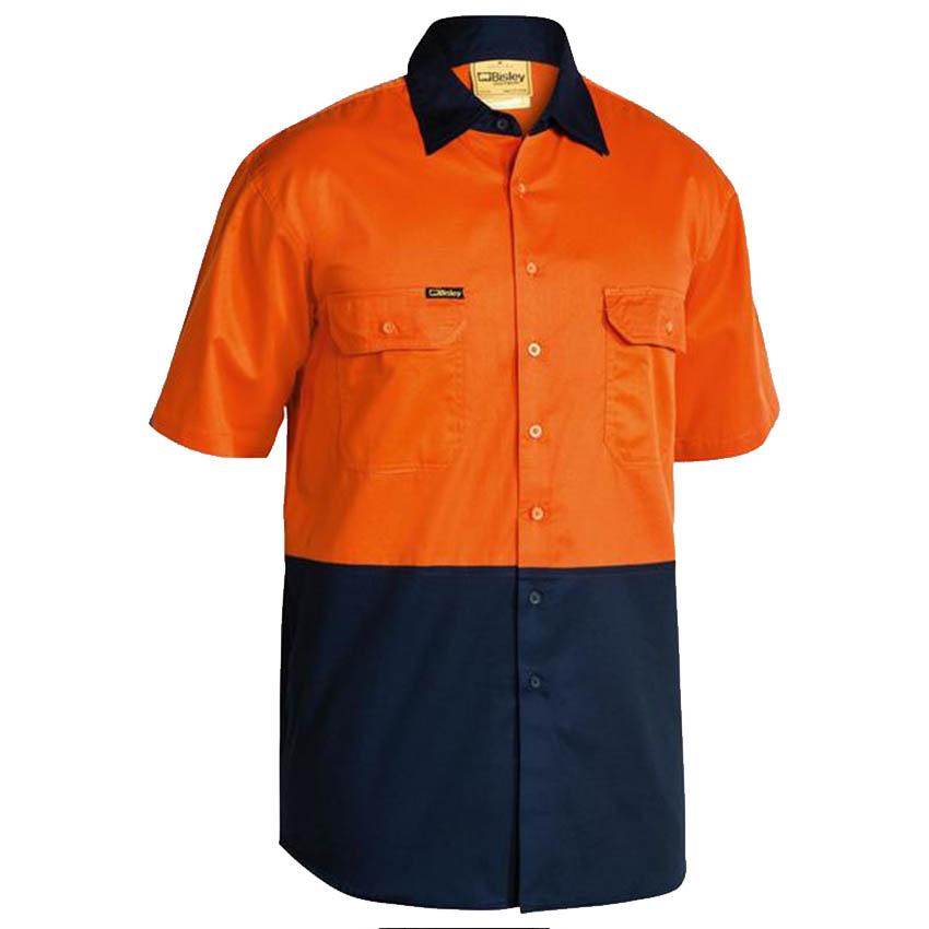 Hi-Vis Cool Lightweight Drill Mens Shirt - Short Sleeve