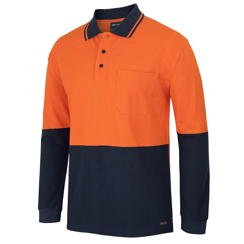 Hi-Vis Cotton Piquie Traditional Mens Polo - Long Sleeve