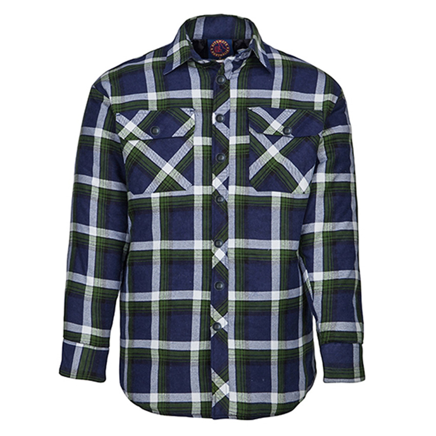 Open Front Quilted Flannelette Mens Shirt