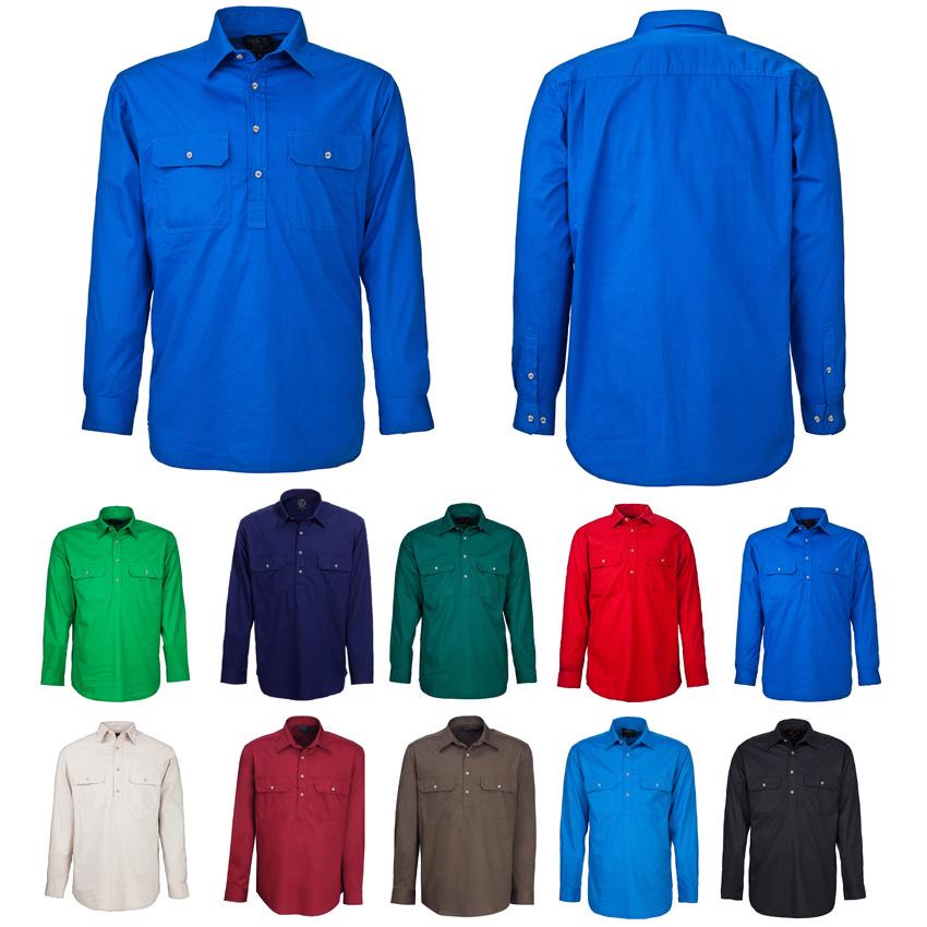 Pilbara Closed Front Long Sleeve Mens Shirt