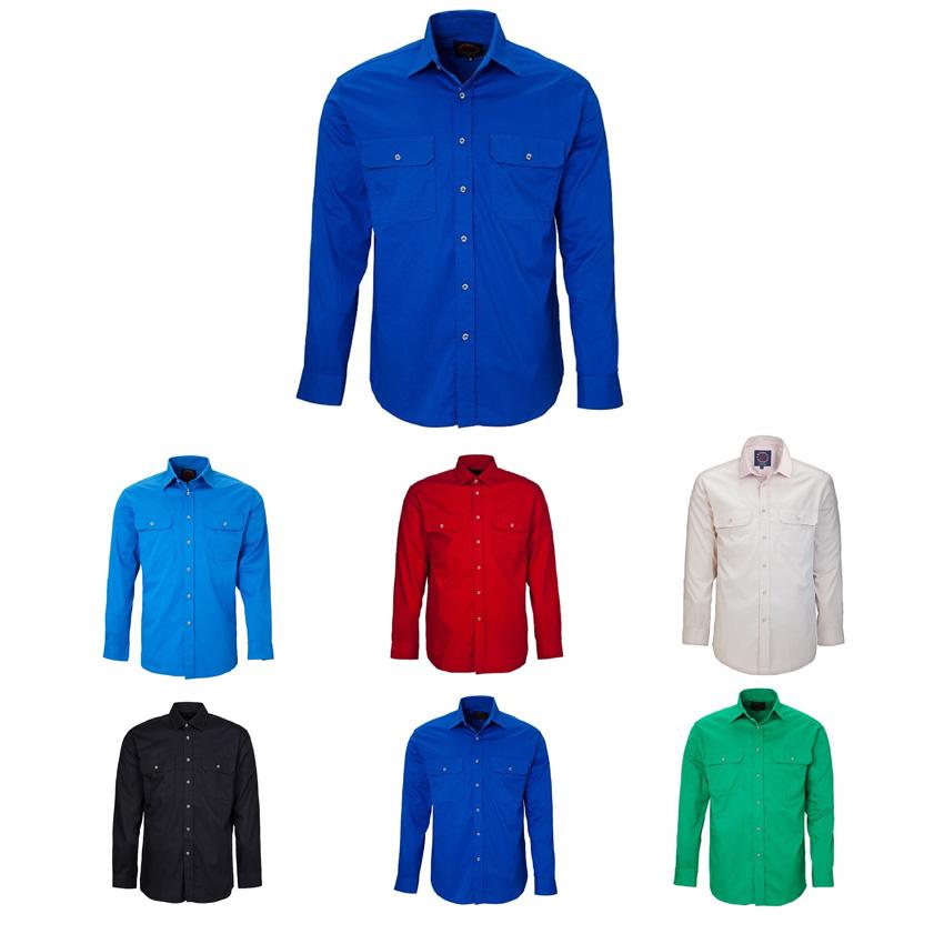 Pilbara Open Front Long Sleeve Mens Shirt