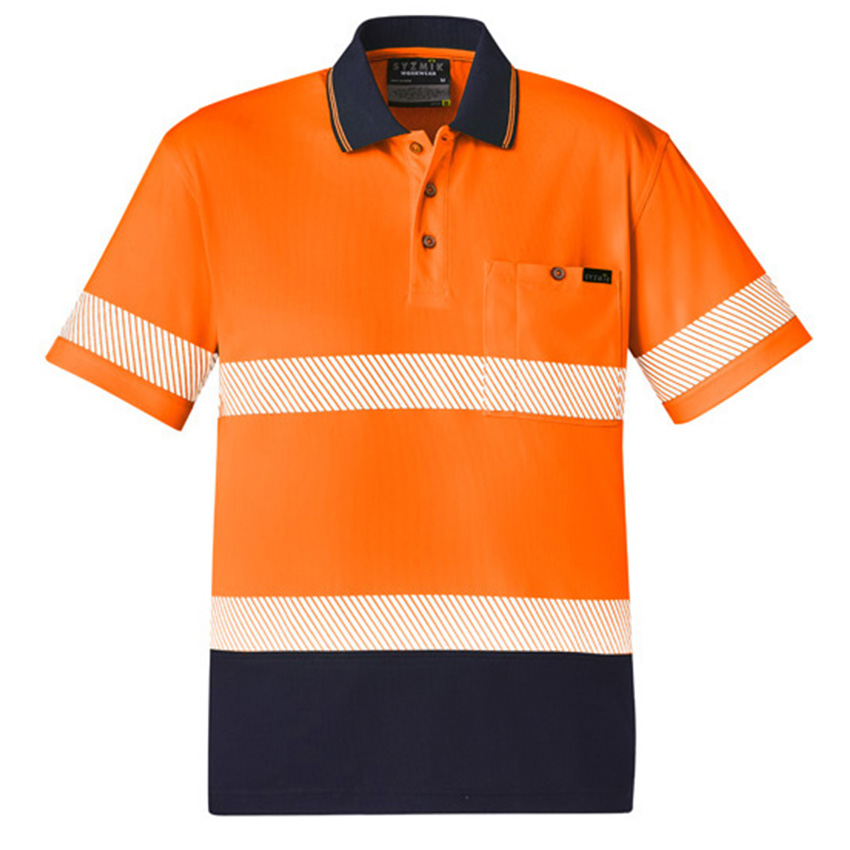 Segmented Hi-Vis Taped Short Sleeve Mens Polo