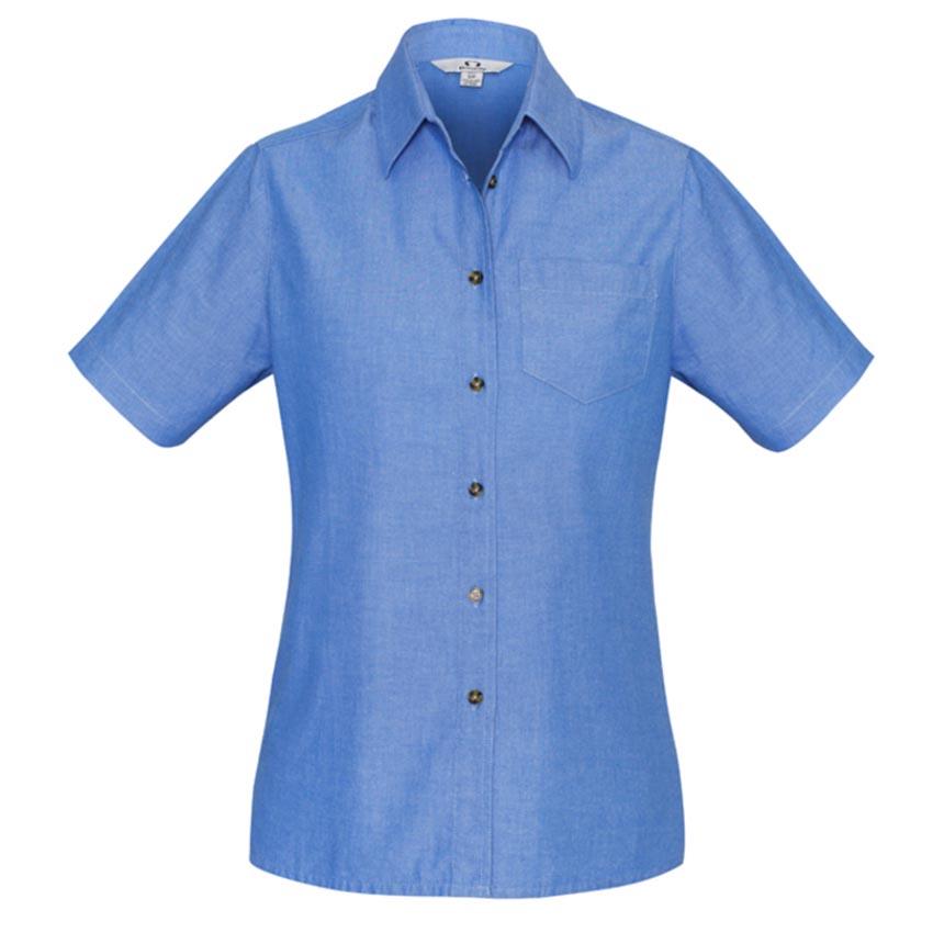 Wrinkle Free Chambray Short Sleeve Ladies Shirt