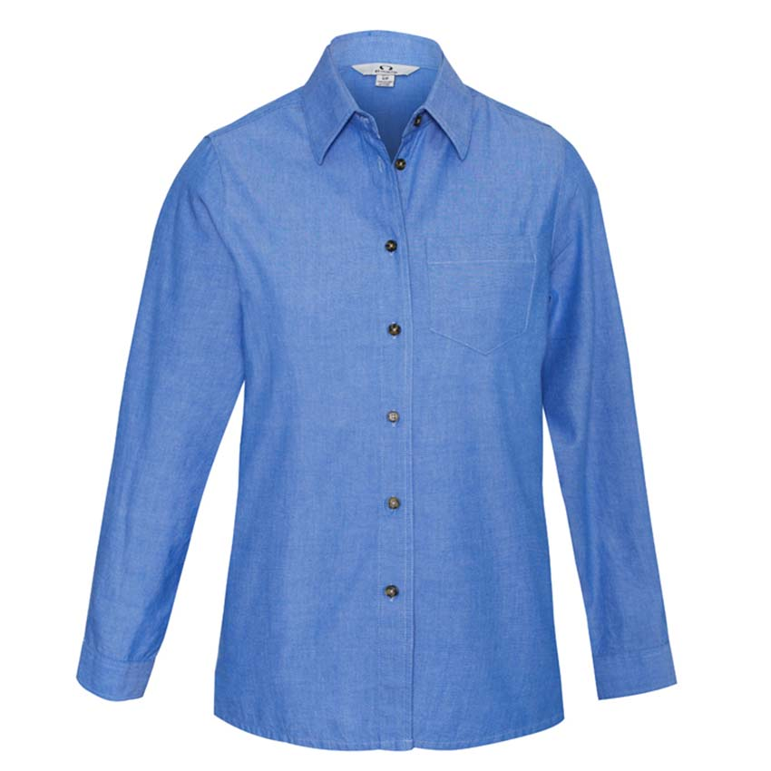 Wrinkle Free Chambray Long Sleeve Ladies Shirt